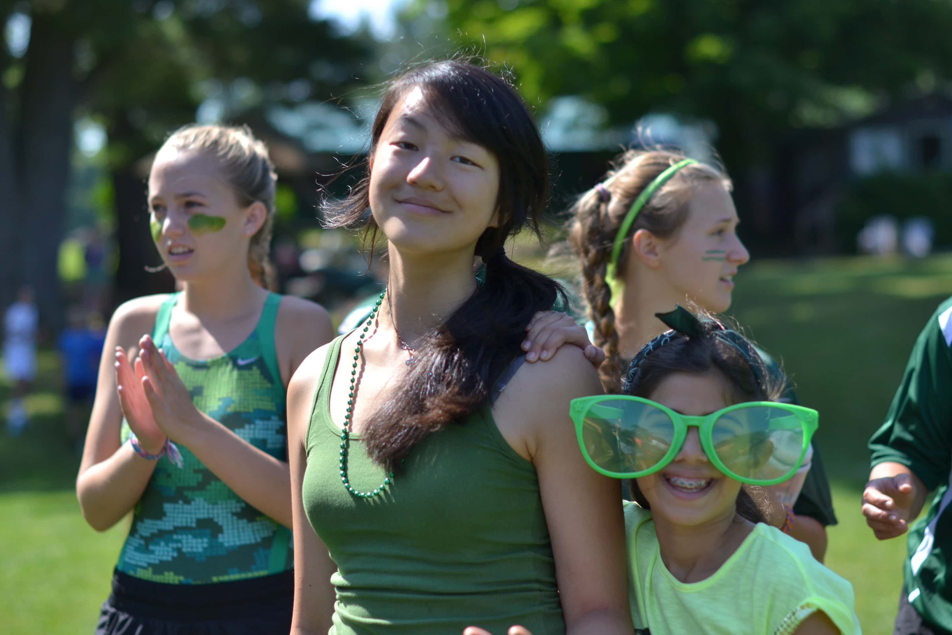 girls all dressed in green for color wars event